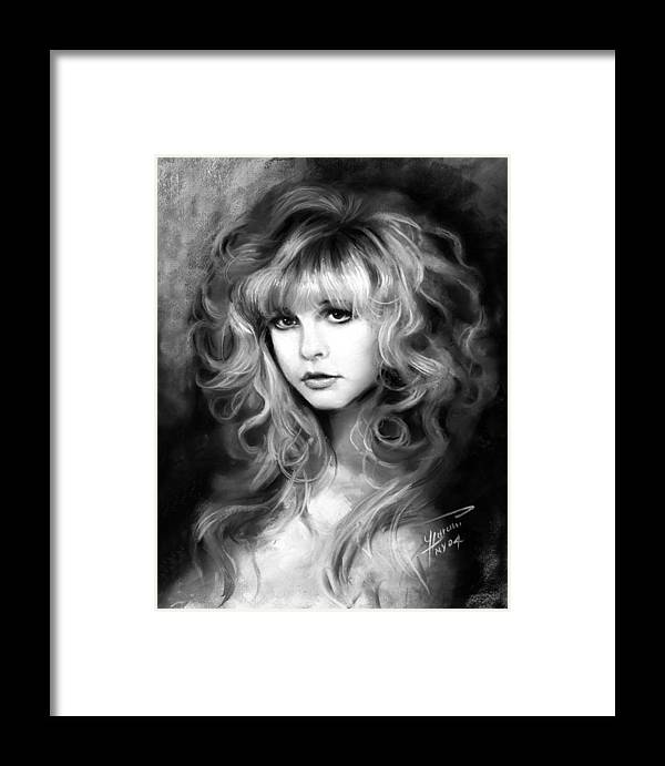 Stevie Nicks Framed Print featuring the drawing Stevie Nicks by Ylli Haruni