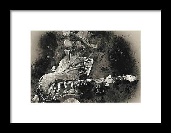 Stevie Ray Vaughan Framed Print featuring the painting Stevie Ray Vaughan - 13 by Andrea Mazzocchetti