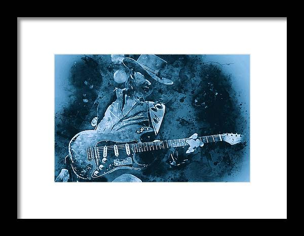 Stevie Ray Vaughan Framed Print featuring the painting Stevie Ray Vaughan - 14 by Andrea Mazzocchetti