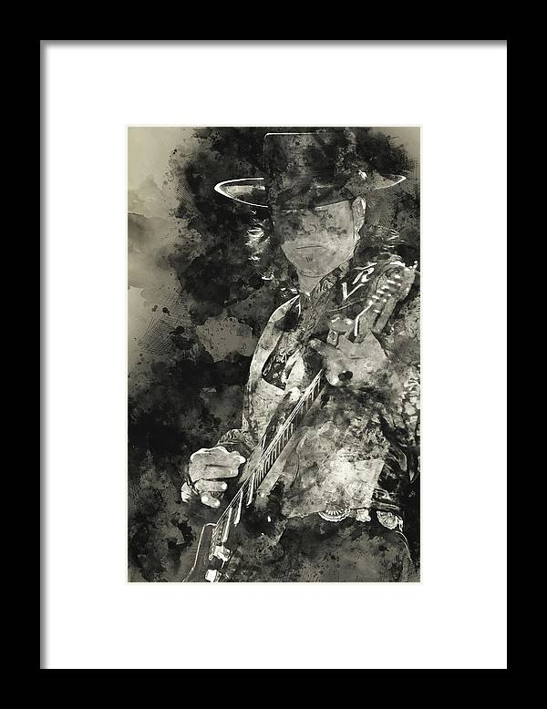 Stevie Ray Vaughan Framed Print featuring the painting Stevie Ray Vaughan - 15 by Andrea Mazzocchetti