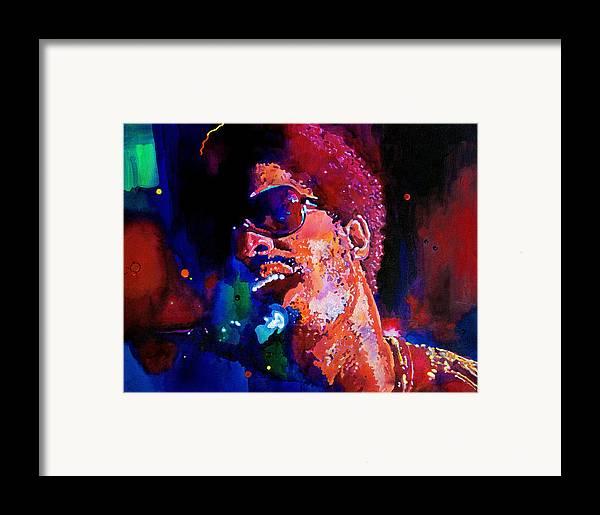 Stevie Wonder Framed Print featuring the painting Stevie Wonder by David Lloyd Glover