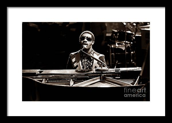 Stevie Wonder Framed Print featuring the photograph Stevie Wonder Softer Gentle Mood - Sepia by Chris Walter