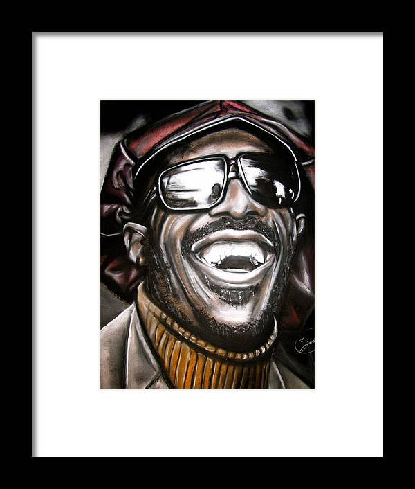 Stevie Framed Print featuring the drawing Stevie Wonder by Zach Zwagil