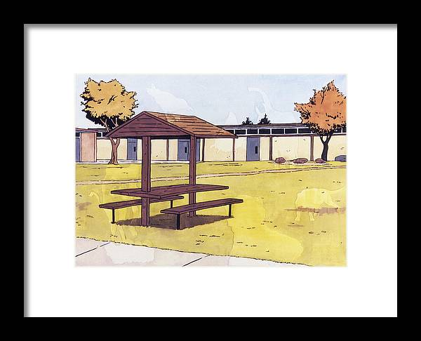 Karl Framed Print featuring the painting Sticker Landscape 1 Schoolyard by Karl Frey