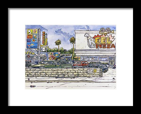 Karl Framed Print featuring the painting Sticker Landscape 2 Parking Lot by Karl Frey