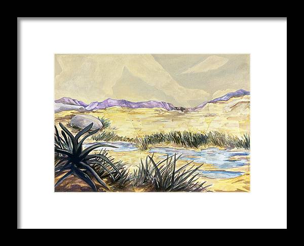 Karl Framed Print featuring the painting Sticker Landscape 3 Desert by Karl Frey