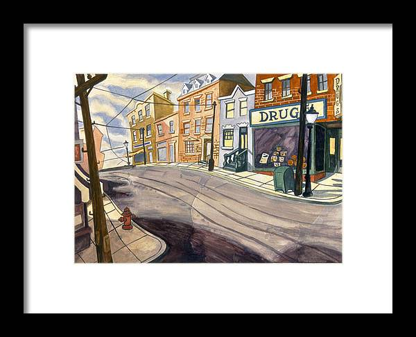 Karl Framed Print featuring the painting Sticker Landscape 4 Mainstreet by Karl Frey