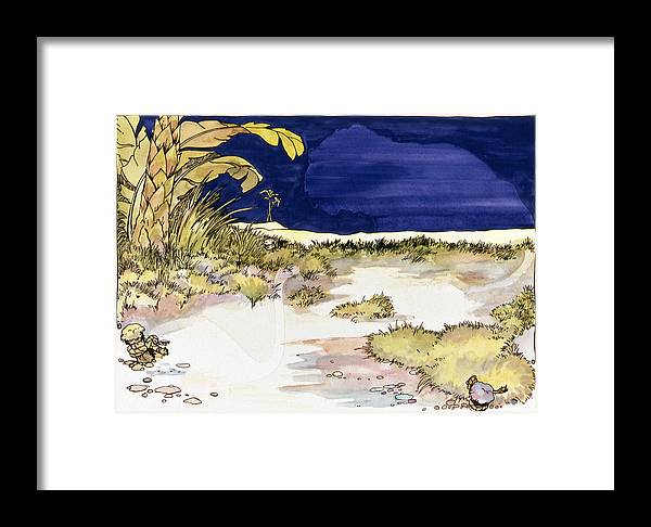 Karl Framed Print featuring the painting Sticker Landscape 4 Oasis by Karl Frey