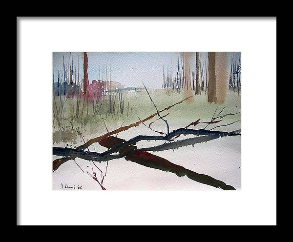 Abstract Framed Print featuring the painting Sticks And Stones by Joe Lanni