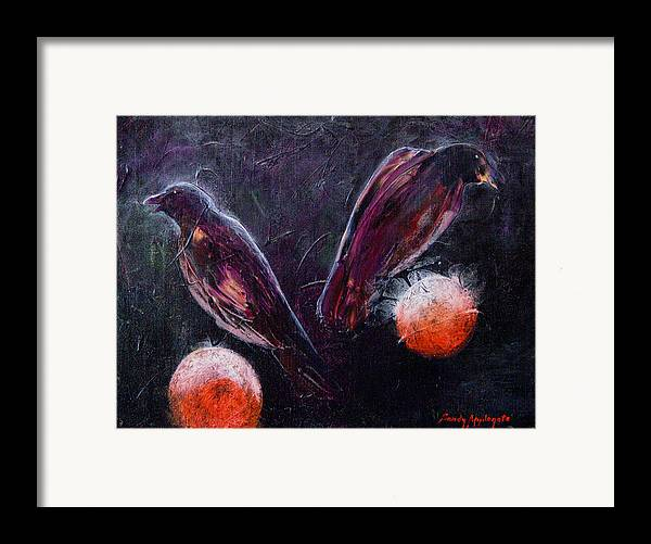 Raven Framed Print featuring the painting Still Is Sitting by Sandy Applegate