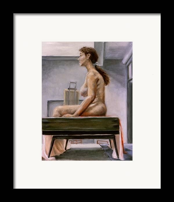 Woman Framed Print featuring the painting Still by John Clum