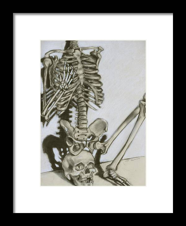 Skeleton Framed Print featuring the drawing Still Life by John Clum