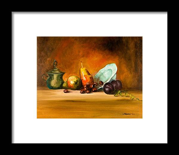 Still Life Framed Print featuring the painting Still Life by Joni Herman