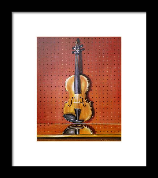 Art Framed Print featuring the painting Still Life of Violin by RB McGrath