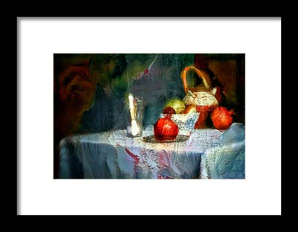 Still Life Oil Painting Table With Pomegranate Ceramic Kettle Glass