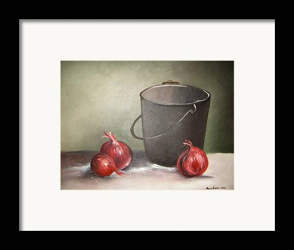 Bucket Framed Print featuring the painting Still Life Onions by Nellie Visser