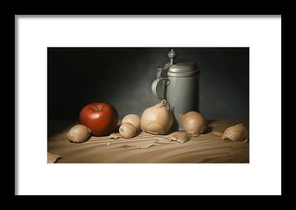 Still Life Painting Framed Print featuring the painting Still Life Painting with Onions by Eric Bossik