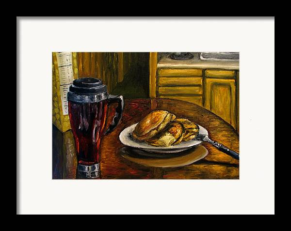 Still Life Painting Framed Print featuring the painting Still Life Pancakes And Coffee Painting by Natalja Picugina