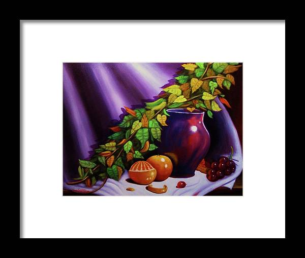 Oil On Canvas....purple Vase......oranges...grapes. Framed Print featuring the painting Still Life W/purple Vase by Gene Gregory