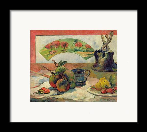 Still Life With A Fan Framed Print featuring the painting Still Life With A Fan by Paul Gauguin