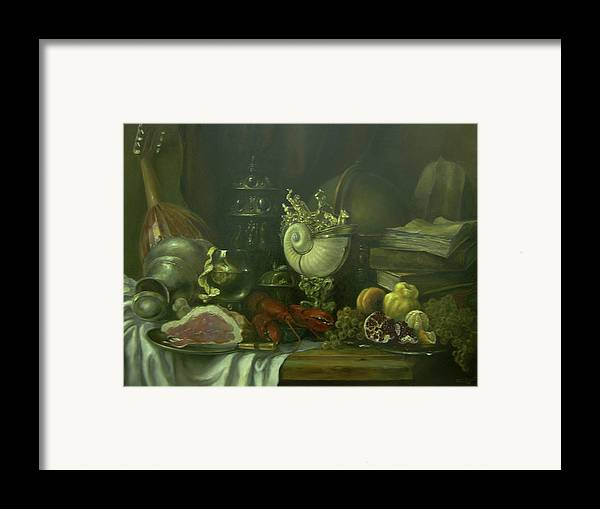 Armenian Framed Print featuring the painting Still-life With A Lobster by Tigran Ghulyan
