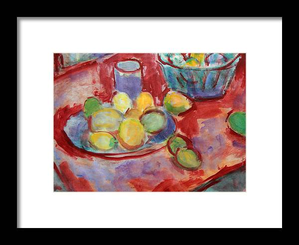 Still Life Framed Print featuring the painting Still Life With A Red Cloth by Andrey Semionov