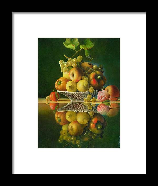 Still Life Framed Print featuring the painting Still Life with a Rose by Giuseppe Mariotti