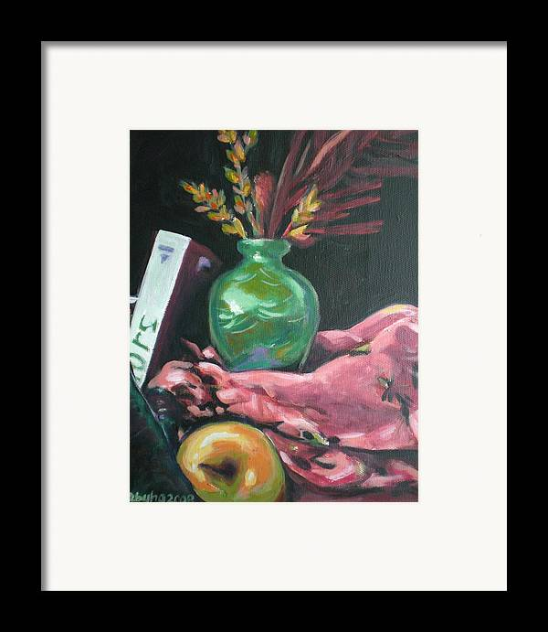 Apple Framed Print featuring the painting Still Life With Apple Book And Vase by Aleksandra Buha