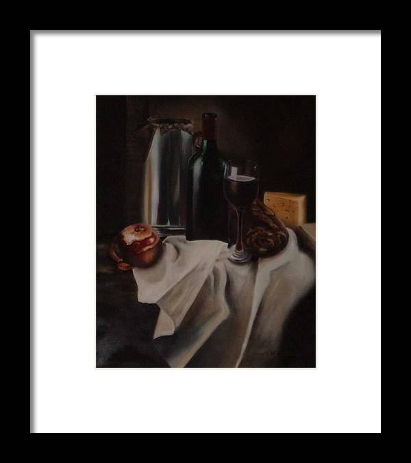 Wine Framed Print featuring the painting Still life with apple by Nellie Visser