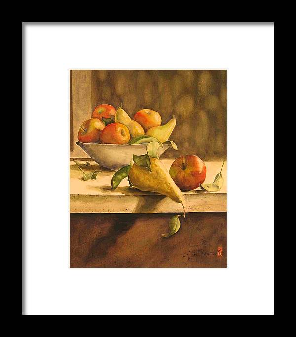Still-life Framed Print featuring the painting Still-life With Apples And Pears by Piety Choi