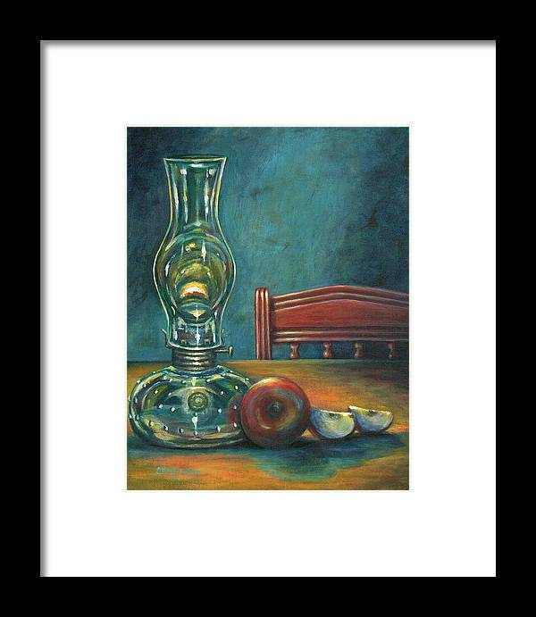 Lamp Framed Print featuring the painting Still Life With Apples by Colleen Maas-Pastore