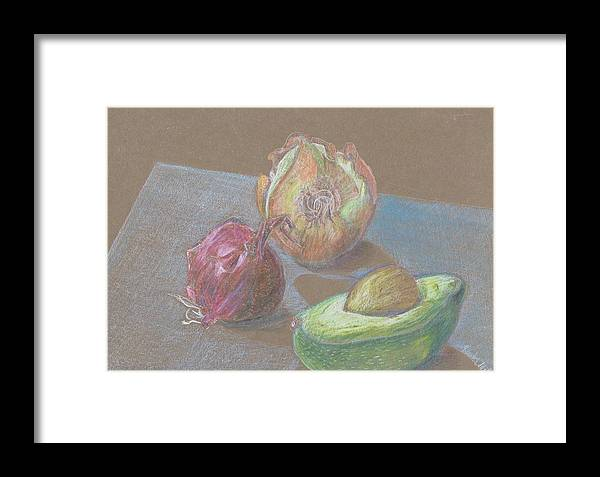 Still Life Framed Print featuring the drawing Still Life With Avacado by Kathy Mitchell
