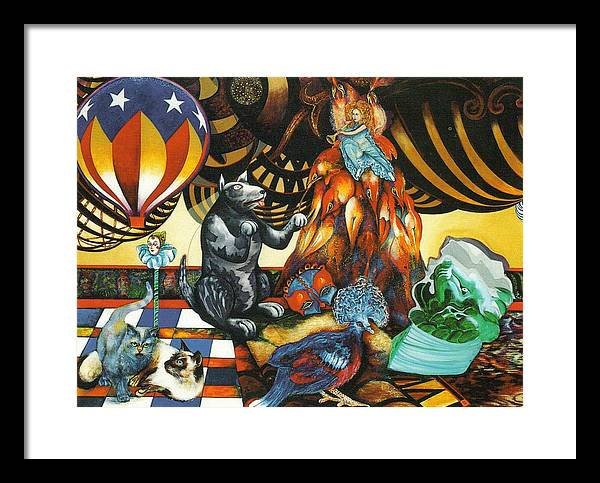 Cats Framed Print featuring the painting still life with Balloon by Christine McGinnis