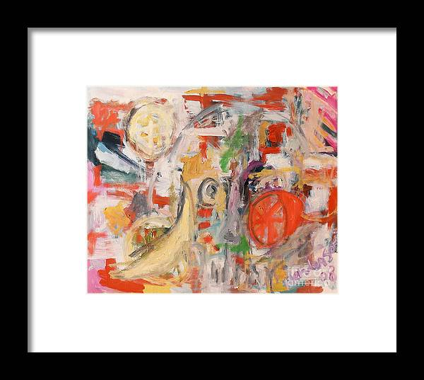 Stil Life Framed Print featuring the painting Still Life With Banana And Orange by Michael Henderson