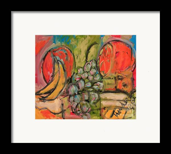 Stil Life Framed Print featuring the painting Still Life With Big Orange by Michael Henderson