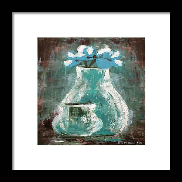 Still Life Framed Print featuring the painting Still Life With Blue Flowers by Gina De Gorna