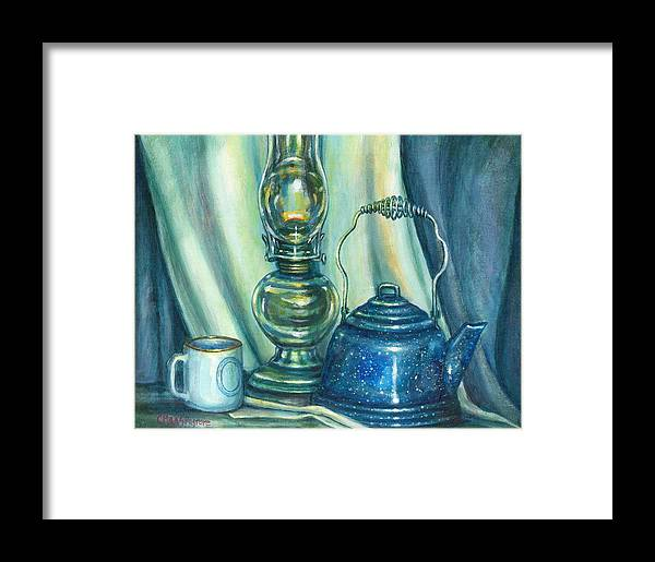 Painting Framed Print featuring the painting Still Life With Blue Tea Kettle by Colleen Maas-Pastore