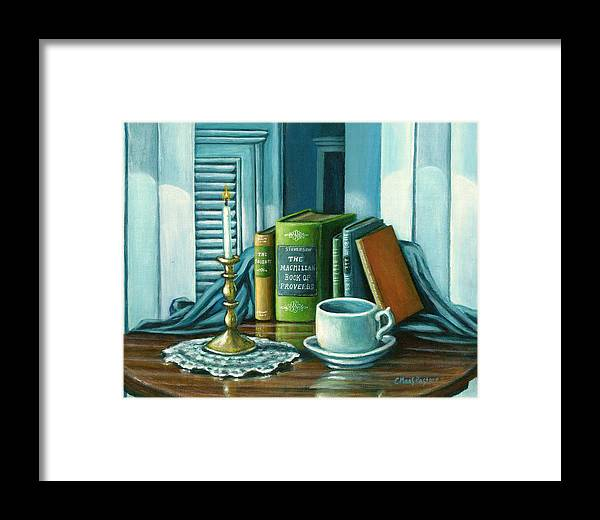 Books Framed Print featuring the painting Still Life With Books by Colleen Maas-Pastore