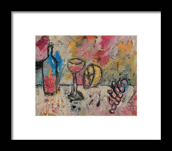 Stil Life Framed Print featuring the painting Still Life With Bottle by Michael Henderson
