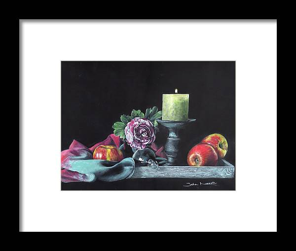 Still Life Framed Print featuring the painting Still Life With Candle by John Neeve