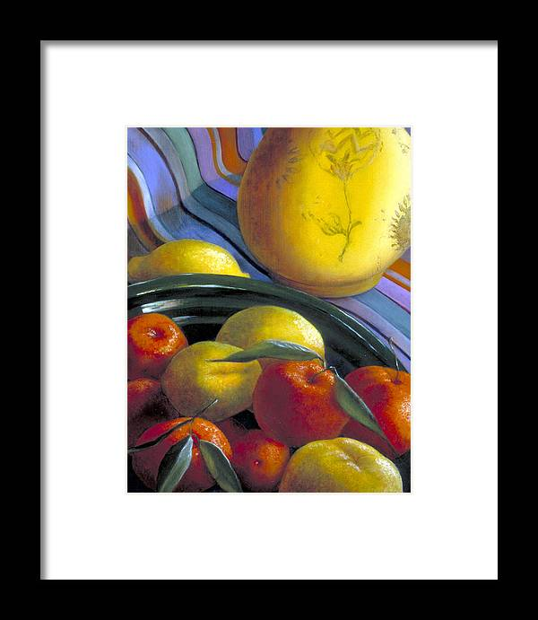 Oil Painting Framed Print featuring the painting Still Life With Citrus by Nancy Ethiel