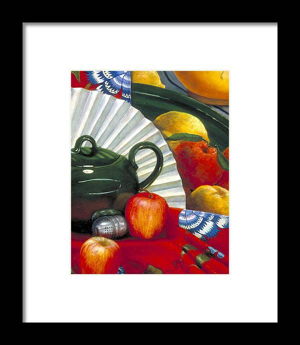 Oil Painting Framed Print featuring the painting Still Life With Citrus Still Life by Nancy Ethiel