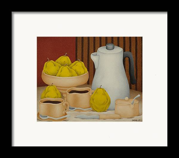Sacha Circulism Circulismo Toothpick Paintings Framed Print featuring the painting Still Life With Coffee Pot 2005 by S A C H A - Circulism Technique