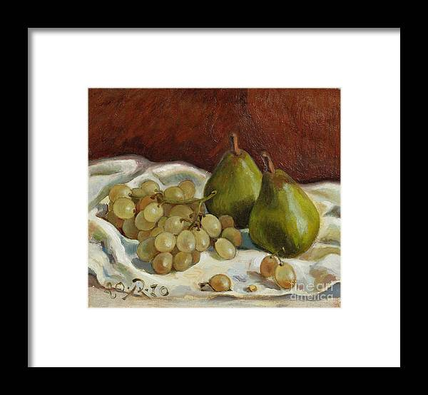 Still Life Framed Print featuring the painting Still Life with French Grapes by Raimonda Jatkeviciute-Kasparaviciene
