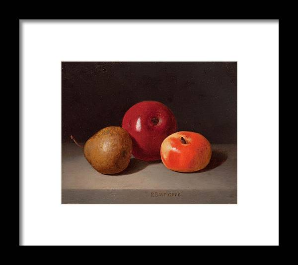 Peter Baumgras Framed Print featuring the painting Still Life With Fruit by Peter Baumgras
