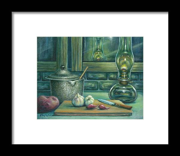 Painting Framed Print featuring the painting Still Life With Garlic by Colleen Maas-Pastore