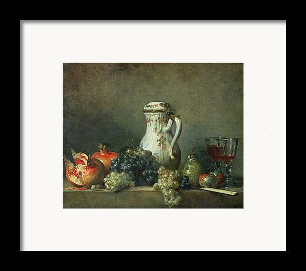 Still Life With Grapes And Pomegranates Framed Print featuring the painting Still Life With Grapes And Pomegranates by Jean-Baptiste Simeon Chardin