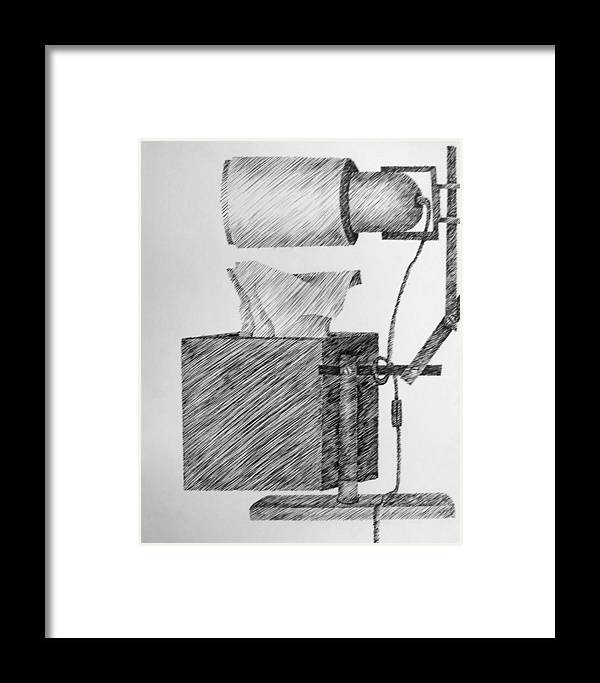 Still Life Framed Print featuring the drawing Still Life With Lamp And Tissues by Michelle Calkins