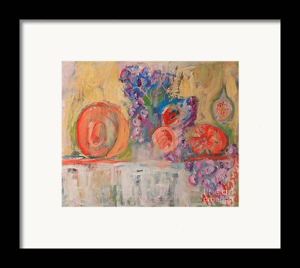 Stil Life Framed Print featuring the painting Still Life With Melon And Fig by Michael Henderson