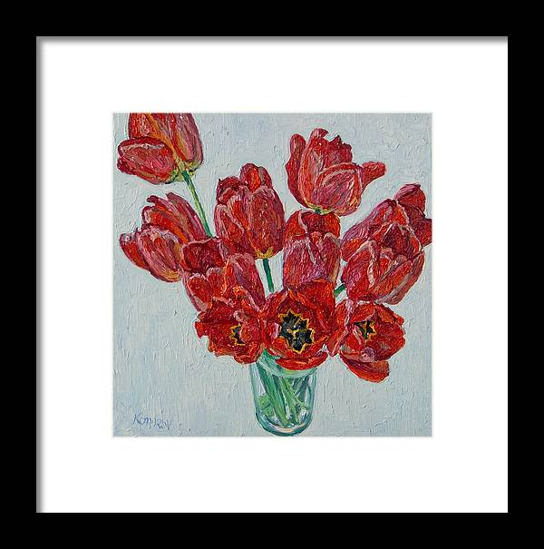 Flower Framed Print featuring the painting Still Life With Open Red Tulips by Vitali Komarov